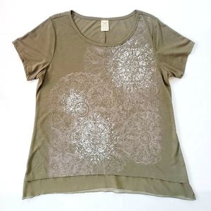 NWT Faded Glory Olive Green Paisley Blouse